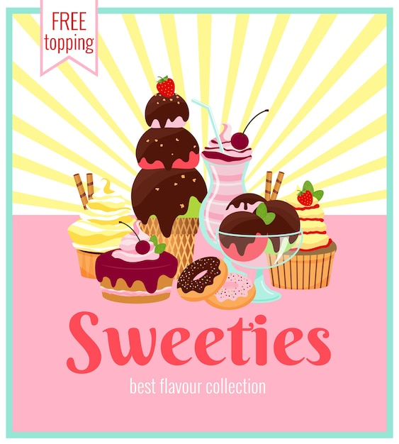 Design de poster retro de sweeties com uma variedade colorida de bolos de sorvete, biscoitos, donuts e cupcakes com raios amarelos e texto - sweeties - coberturas grátis Vetor grátis