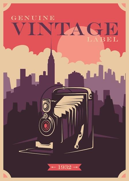 Design de poster vintage com câmara fotográfica. Vetor Premium
