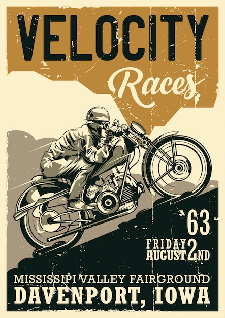 Design de pôster vintage com tema de motocicleta e ilustração de um motociclista andando em uma motocicleta vintage Vetor grátis