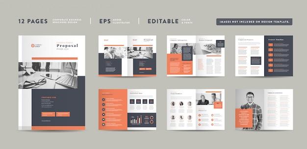 Design de proposta de projeto de negócios corporativos Vetor Premium