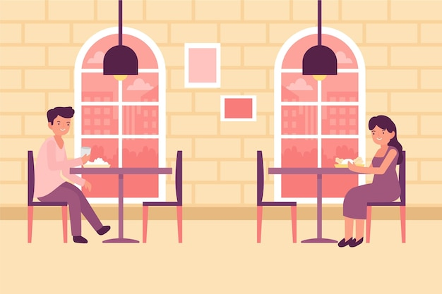 Design de restaurante social de distanciamento Vetor grátis