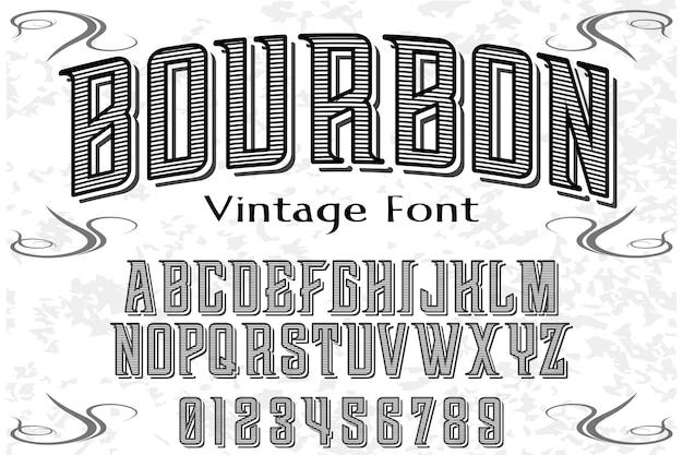 Design de rótulo de alfabeto de bourbon Vetor Premium