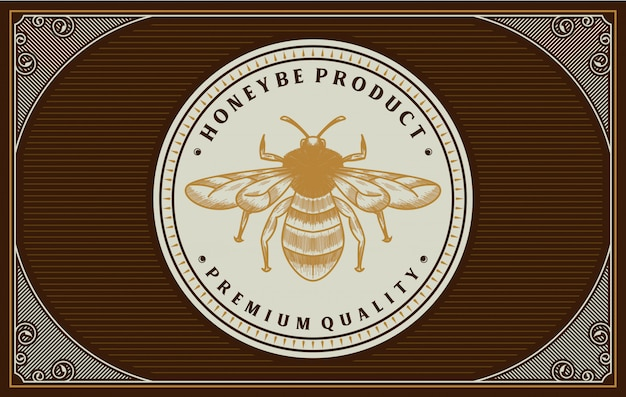 Design de rótulo de mel com elemento de abelha Vetor Premium