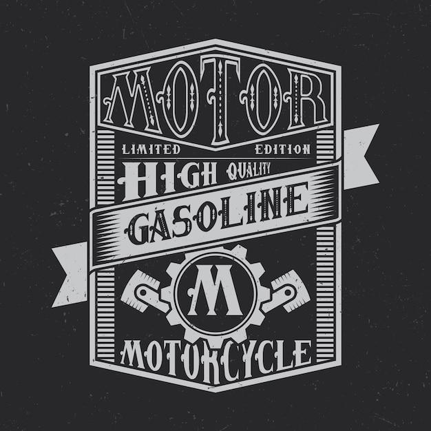 Design de rótulo de tipografia motor gasoline. bom para usar em camisetas ou pôsteres. Vetor grátis