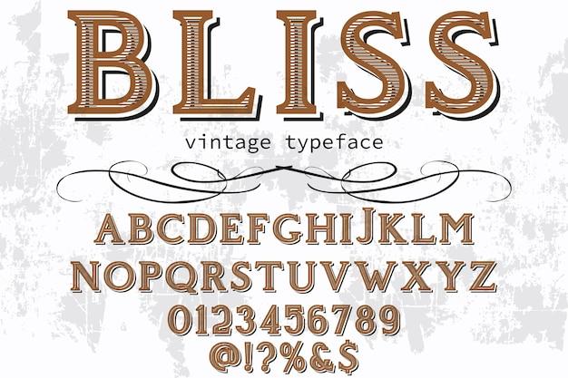 Design de rótulo retrô alfabeto bliss Vetor Premium