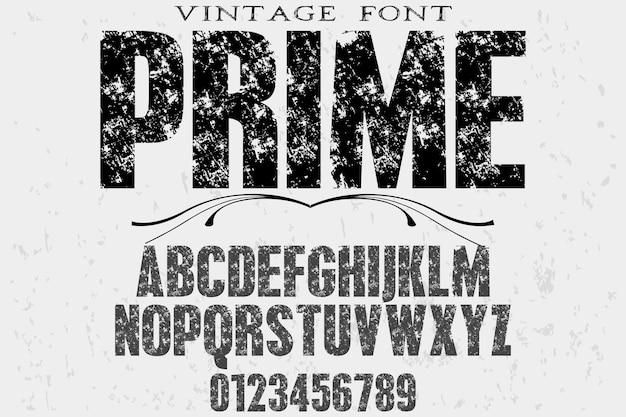 Design de rótulo retro tipografia prime Vetor Premium