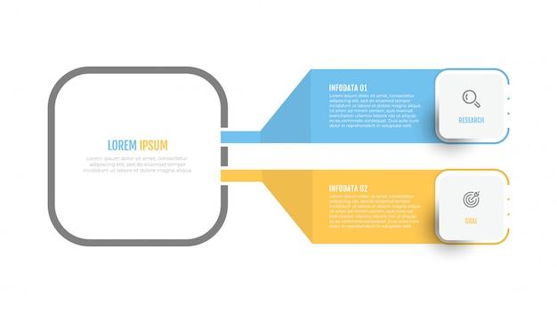 Design de rótulo vetorial diagrama infográfico com ícones e 2 opções ou etapas. Vetor Premium