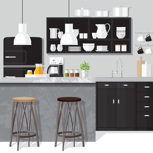 Design de sala de jantar interior Vetor Premium