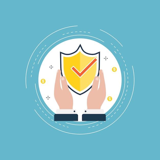 Design de segurança de dados para banners e aplicativos da web Vetor Premium