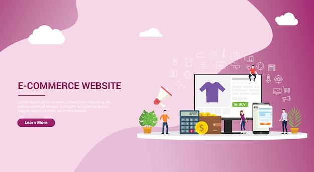 Design de site de compras on-line e-commerce Vetor Premium