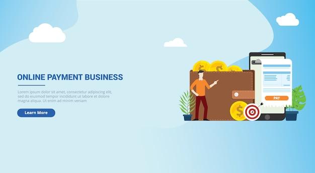 Design de site de tecnologia de pagamento móvel on-line Vetor Premium