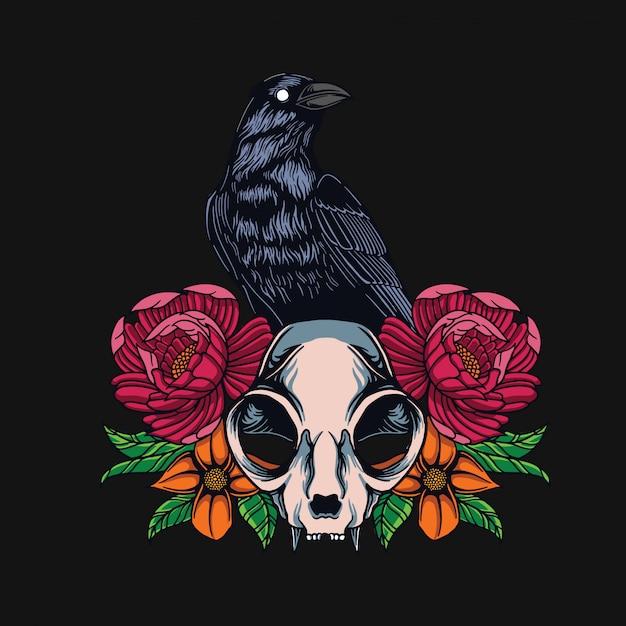 Design de t-shirt de caveira corvo e gato Vetor Premium