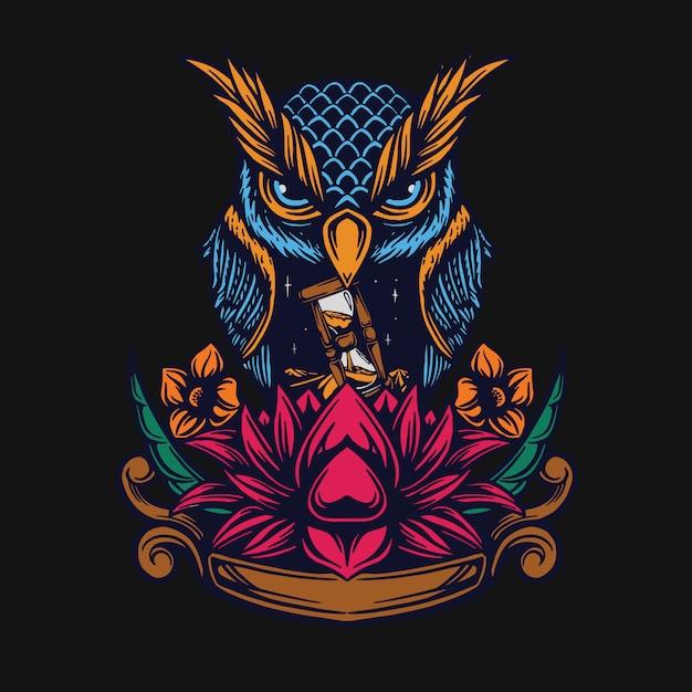 Design de t-shirt de coruja e lótus Vetor Premium
