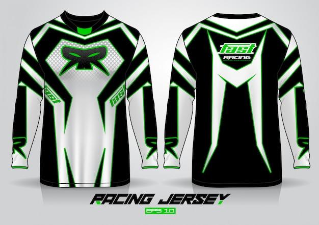 Design de t-shirt de manga comprida. vista frontal e traseira uniforme do motor racing. Vetor Premium