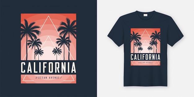 Design de t-shirt e vestuário da california ocean avenue, tipografia, Vetor Premium