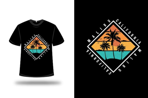 Design de t-shirt. malibu california em laranja e verde Vetor Premium