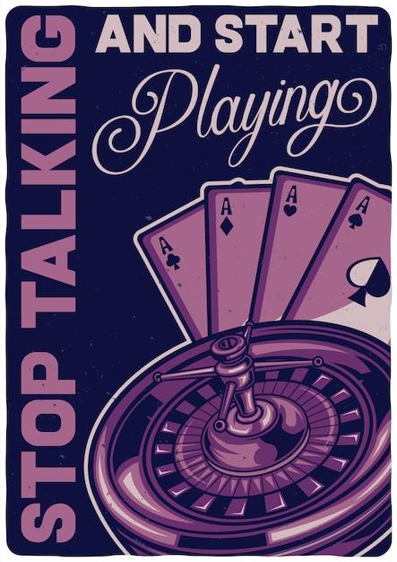 Design de t-shirt ou cartaz com ilustração de um jogo de casino. Vetor grátis