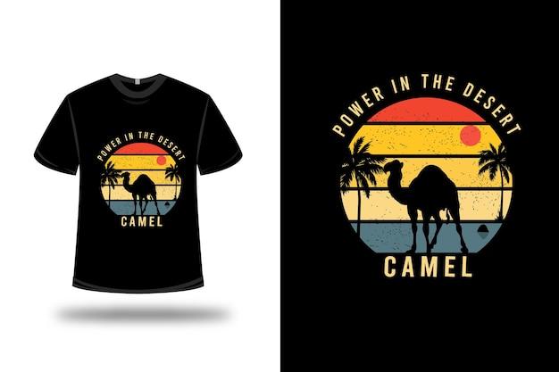 Design de t-shirt. poder no camelo do deserto em amarelo laranja e azul Vetor Premium