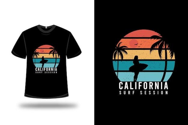 Design de t-shirt. sessão de surf da califórnia em laranja e verde Vetor Premium