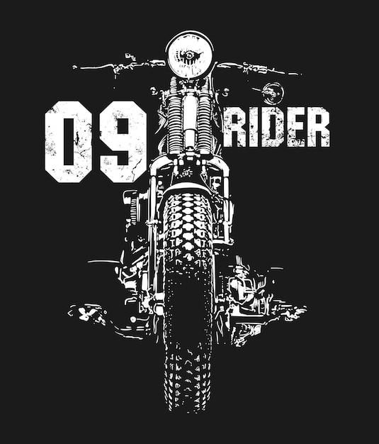 Design de t-shirt vetorial desenhada à mão de motocicleta vintage Vetor Premium