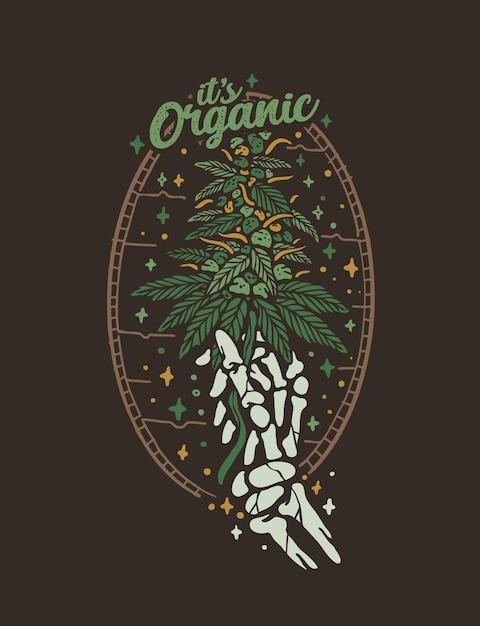 Design de t-shirt vintage com folha de cannabis orgânica Vetor Premium