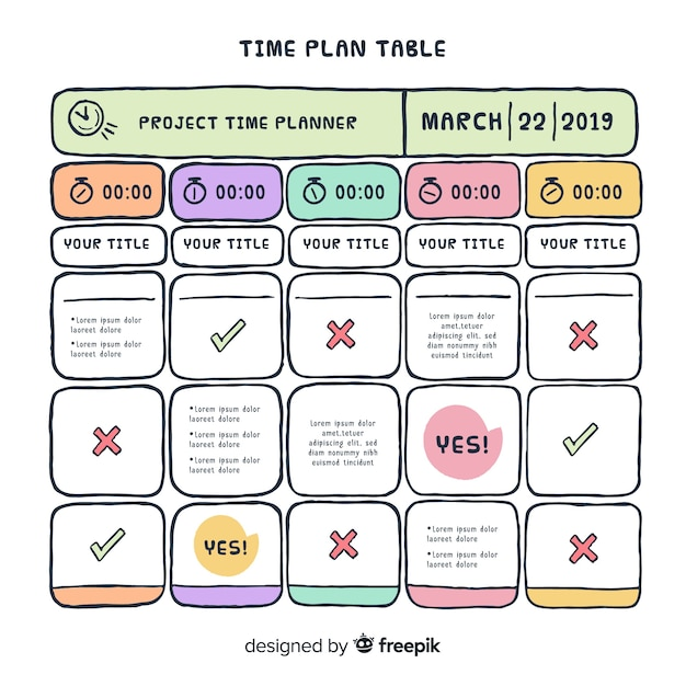Design de tabela de plano de tempo Vetor grátis