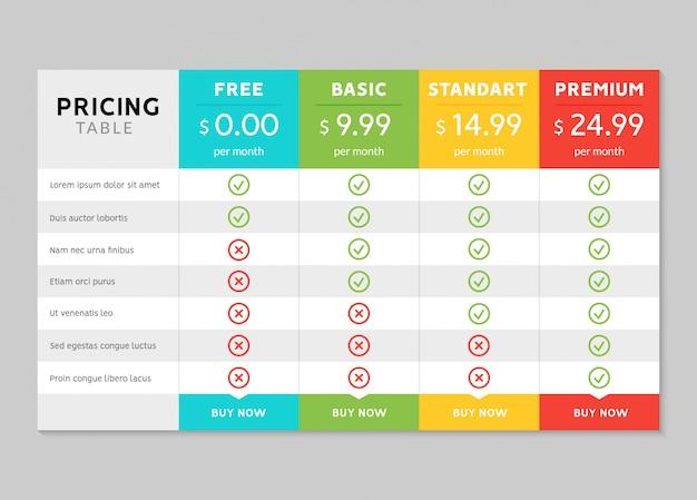 Design de tabela de preços para empresas Vetor Premium