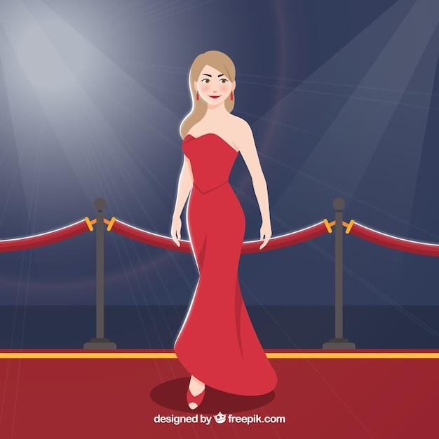 Design de tapete vermelho com mulher vestindo vestido vermelho Vetor Premium
