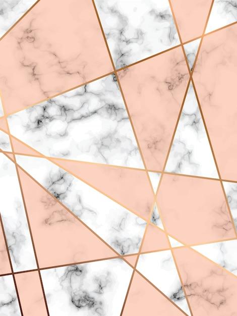 design de textura de mármore com linhas geométricas douradas, superfície de mármore preto e branco, fundo luxuoso moderno, ilustração vetorial Vetor Premium