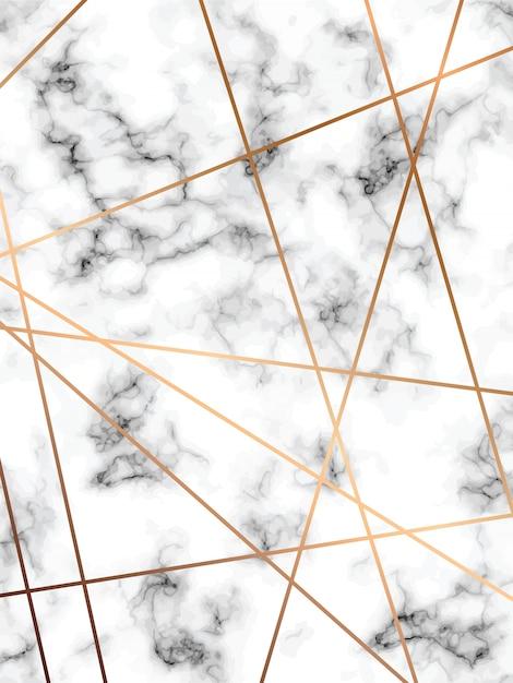 Design de textura de mármore com linhas geométricas douradas, superfície de mármore preto e branco Vetor Premium