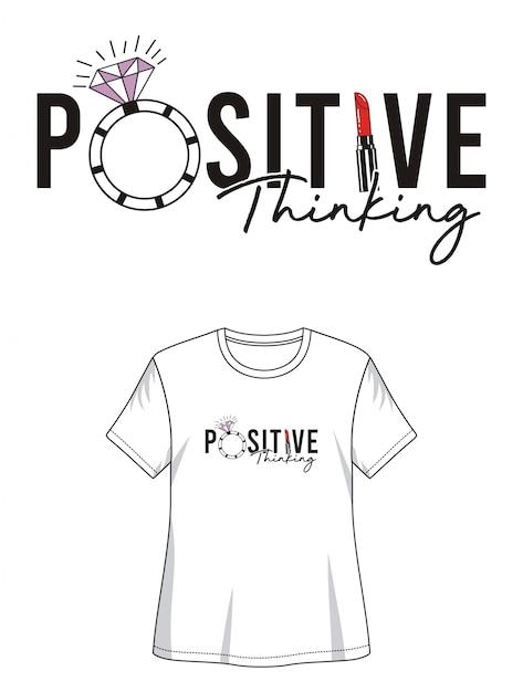 Design de tipografia de pensamento positivo camiseta Vetor Premium