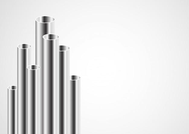 Design de tubos de aço 3d Vetor Premium