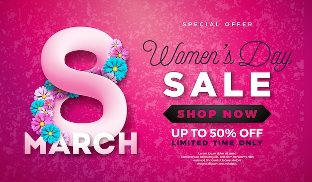 Design de venda de dia das mulheres com bela flor colorida Vetor Premium