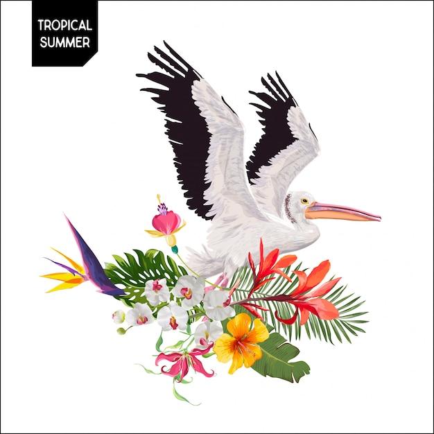 Design de verão com pássaros e flores de pelicano Vetor Premium