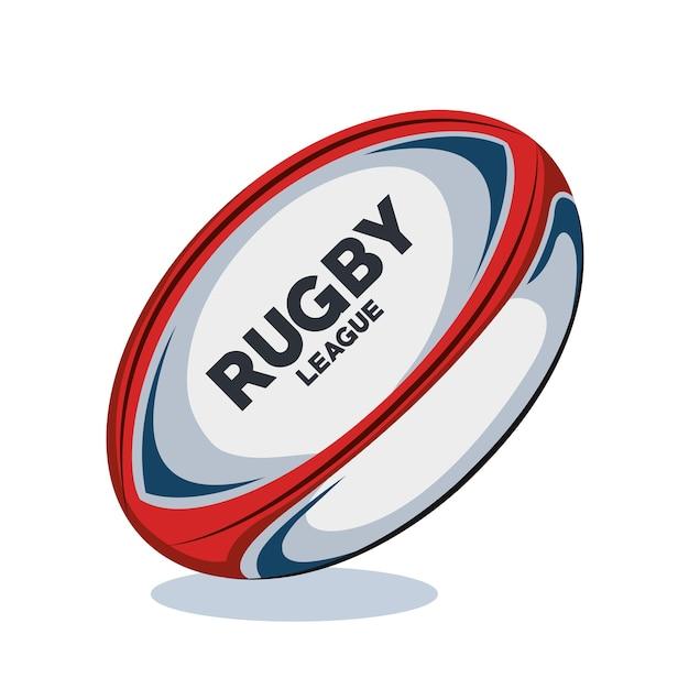 Design de vermelho, branco e azul de bola de rugby Vetor Premium