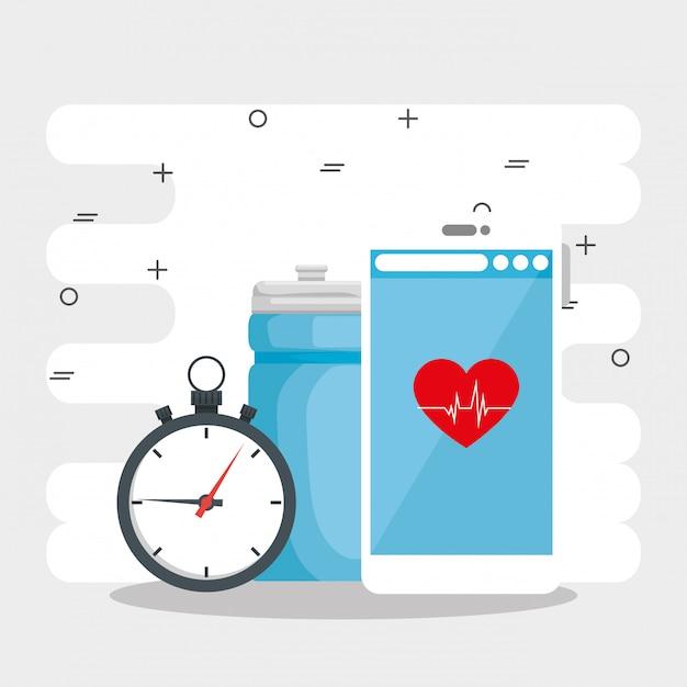 Design de vetor de conceito de estilo de vida saudável Vetor Premium