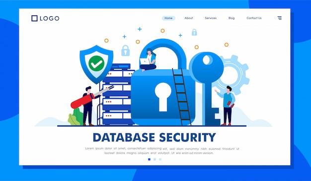 Design de vetor de ilustração de site de página de destino de segurança de banco de dados Vetor Premium