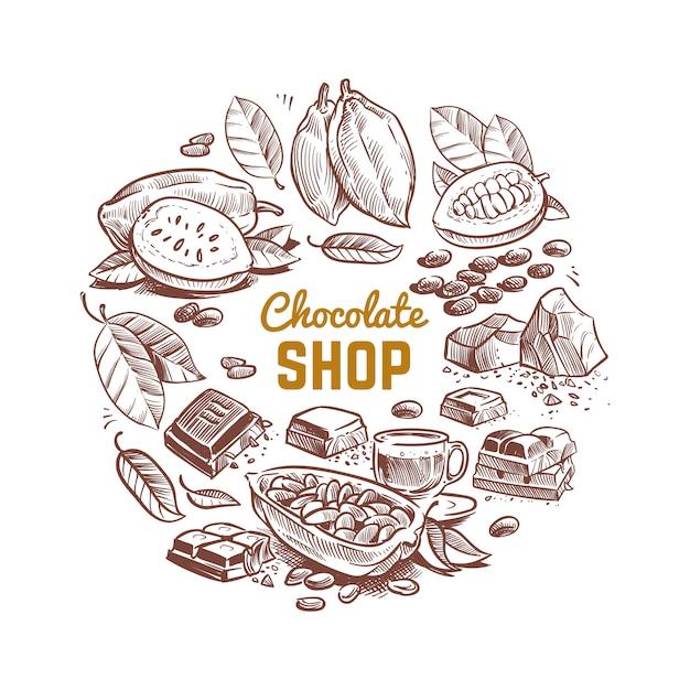Design de vetor de loja de chocolate com grãos de cacau esboçados e barras de chocolate Vetor Premium