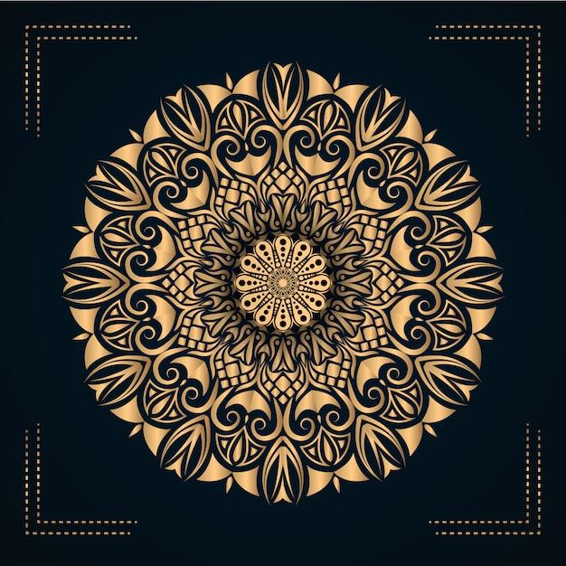 Design de vetor de mandala de luxo com estilo arabesco dourado Vetor Premium