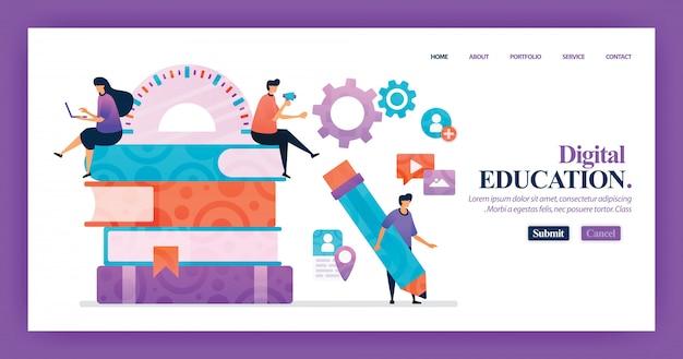Design de vetor de página de destino da educação digital Vetor Premium