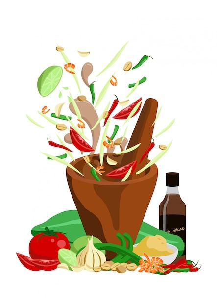 Design de vetor de salada de papaia comida tailandesa Vetor Premium