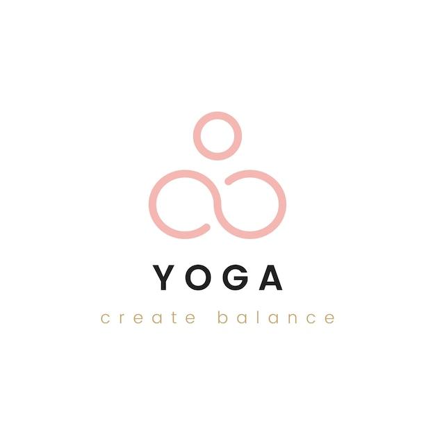 Design de yoga criar vetor de logotipo de equilíbrio Vetor grátis