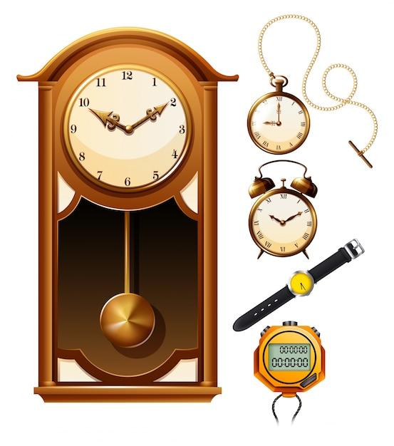 Design diferente da ilustração do relógio Vetor grátis