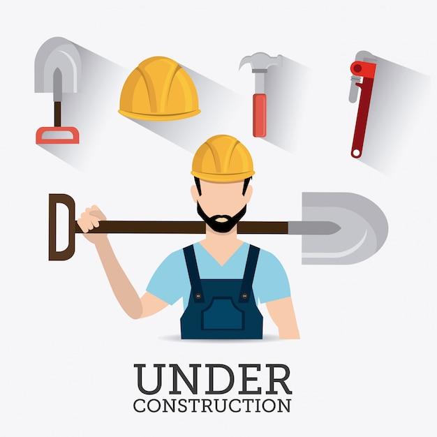 Design digital de construção. Vetor Premium