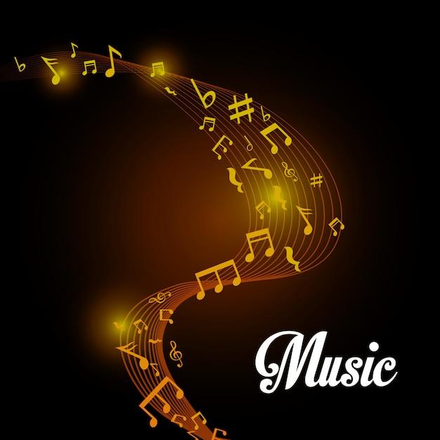 Design digital de música. Vetor Premium