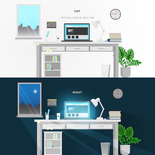Design do escritório de noite e dia Vetor Premium