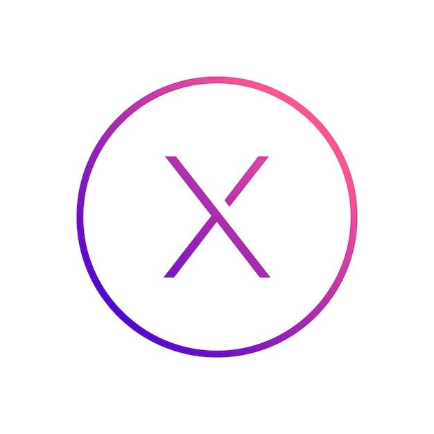 Design do ícone do círculo dentro do alfabeto letra x Vetor Premium