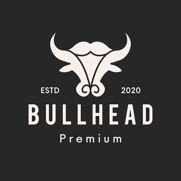 Design do logotipo bull head clean Vetor Premium