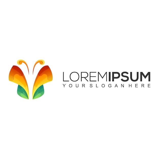 Design do logotipo da borboleta Vetor Premium
