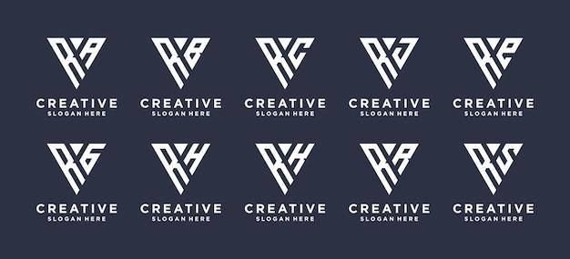 Design do logotipo da combinação da letra r do monograma. Vetor Premium